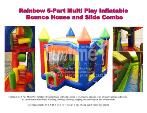 Rainbow 5-Part Multi-Play Inflatable Bounce House With Slide