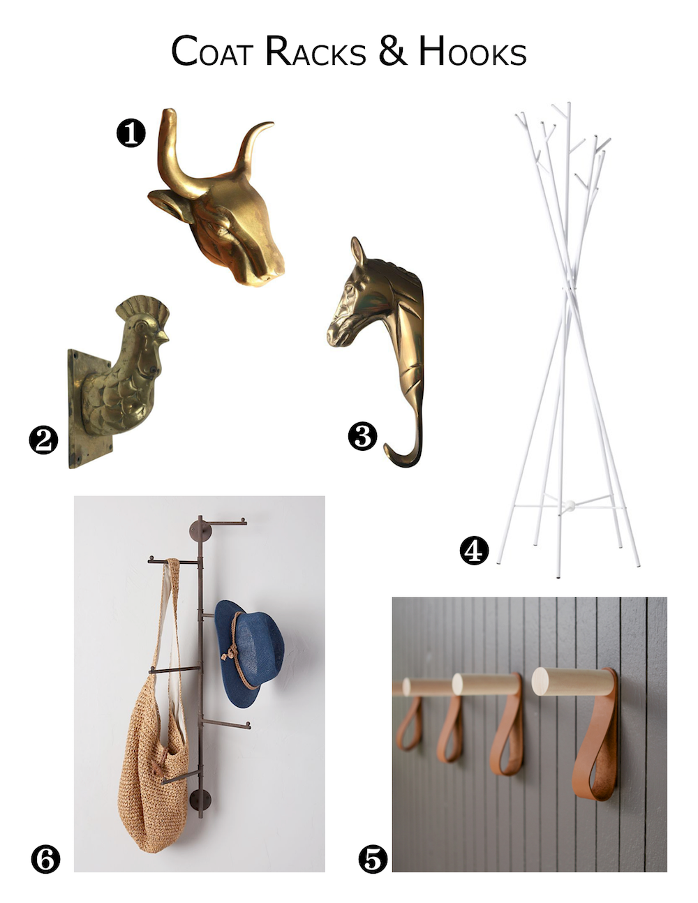 Vintage Brass Farm Animal Hooks, Modern White Metal Coat Rack, Wall Mounted Rustic Metal Coat Rack, Modern Wood and Leather Wall Hooks