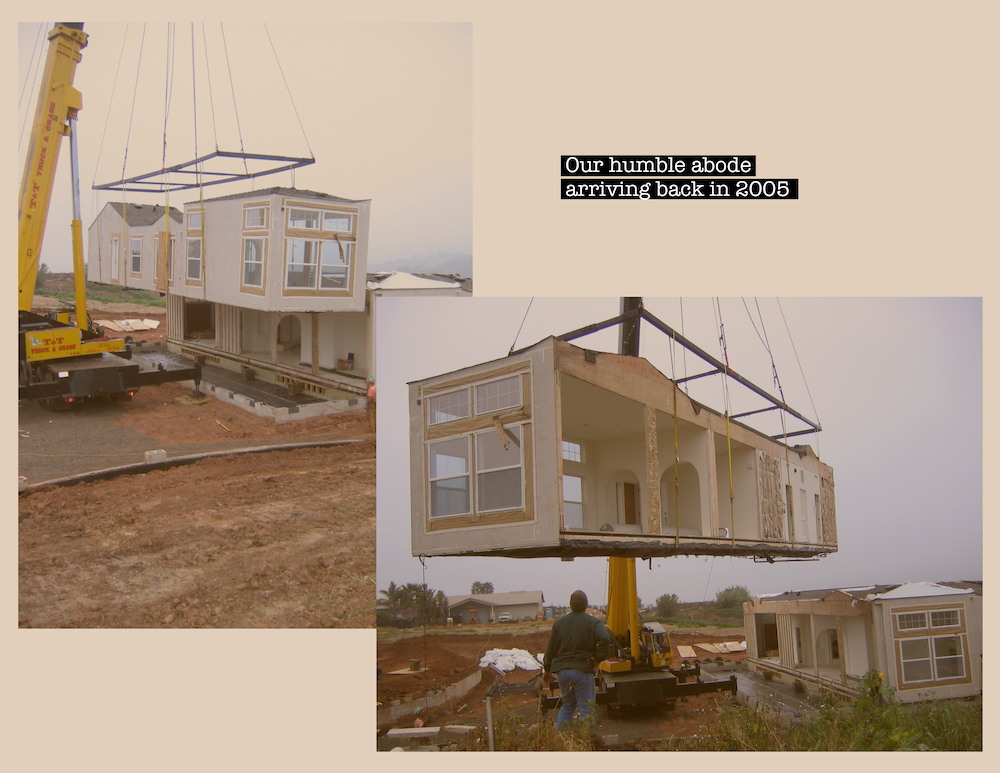 Crane setting Manufactured Home on foundation