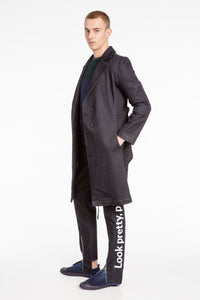 Unisex Asymetrical Dark Grey Denim Coat