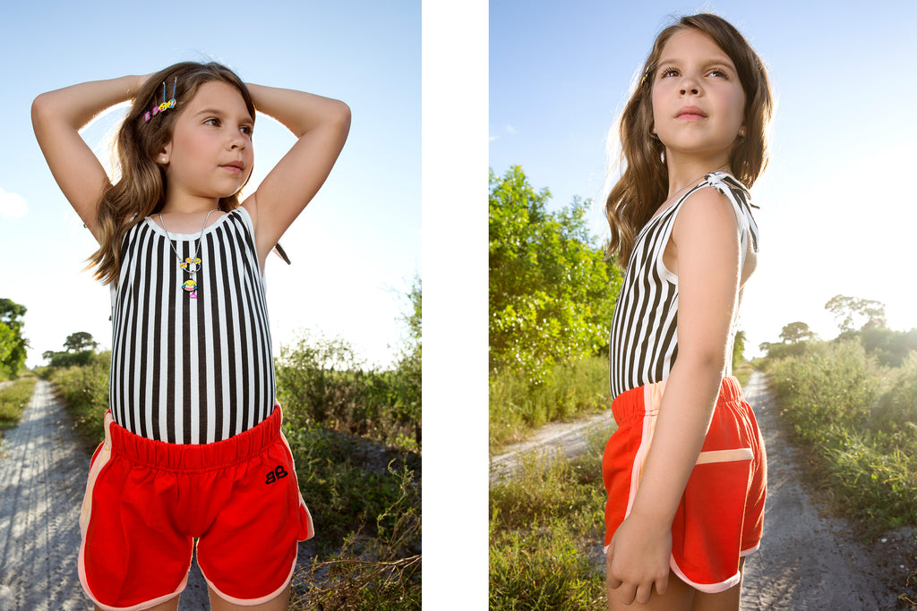 bandy button porter bodysuit and gum shorts
