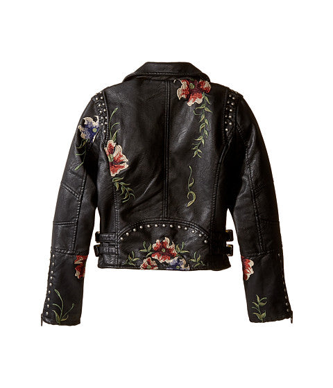 Blank Nyc Vegan Floral Embroided Leather Jacket