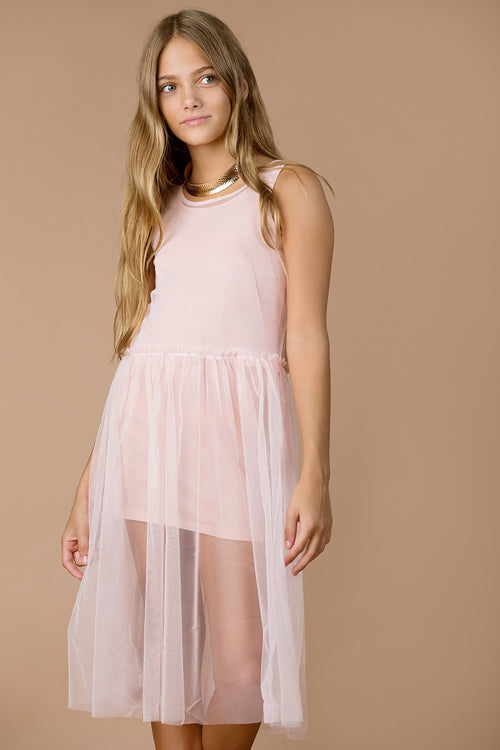 bebe girls pink tulle tank dress