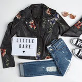 Floral Vegan Leather Jacket