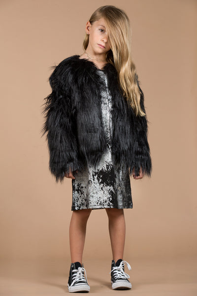mia new york black fur coat