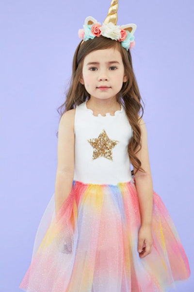 petite hailey rainbow tutu dress