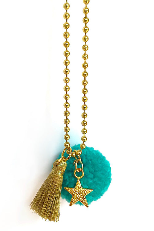 Teal Pom Pom Necklace