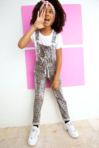 Leopard French Terry Overalls from Vintage Havana Kids