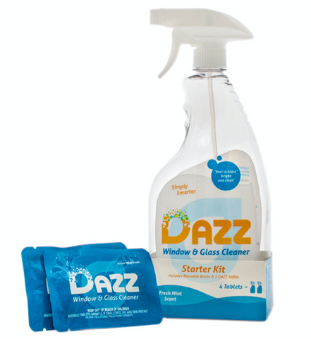 Dazz Window and Glass Cleaner packet and branded bottle.