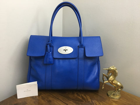 Sold Out Mulberry Bayswater in Bluebell Shiny Goat Leather with Silver  Hardware 130db59f8ae5c
