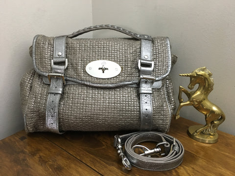 82ea9025225 Sale Sold Out Mulberry Silver Metallic Cotton Weave   Leather Mix Regular  Alexa Silver Hardware