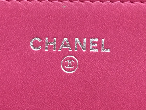 Chanel Quilted Fuschia Pink Patent Leather WOC Wallet on Chain