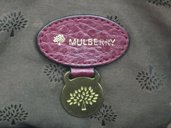 Mulberry Polly Push Lock Tote in Conker Shiny Large Grain Leather with Brushed Gold Hardware