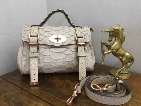 a390259fe73 Sold Out Mulberry Pebbled Beige Large Silky Snake Print Mini Alexa with  Rose Gold Hardware