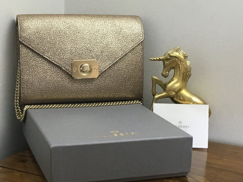 3dce3c9f71a8 Sold Out Mulberry Delphie Clutch in Metallic Mushroom Goat Leather