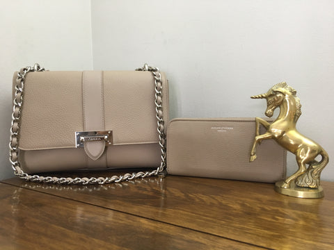 Aspinal Large Lottie in Soft Taupe Pebble and matching Continental Clutch Zip Wallet