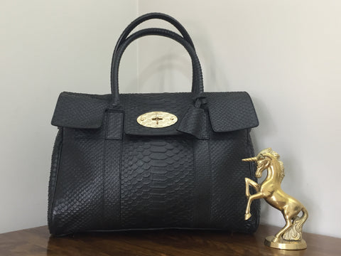 f147bcfc7b8 Sale Sold Out Mulberry Bayswater in Black Silky Snake Leather with Feature  Snake Embossed Gold Postman s Lock