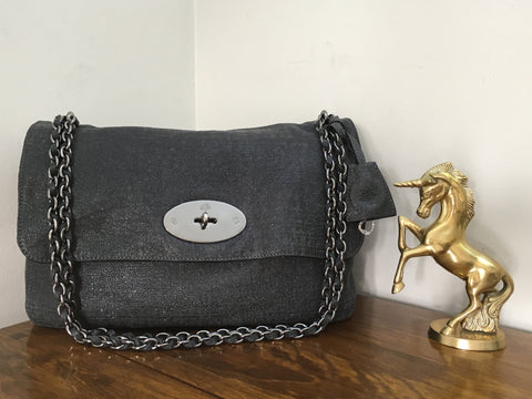 b832c75729 Sold Out Mulberry Oversized Lily in Gunmetal Sparkle Tweed Leather with  Gunmetal Hardware