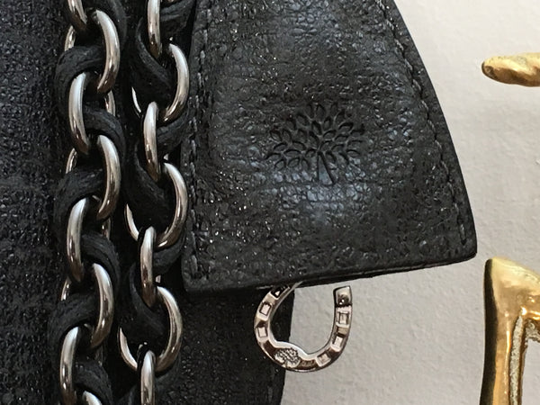 Mulberry Oversized Lily in Gunmetal Sparkle Tweed Leather with Gunmetal Hardware