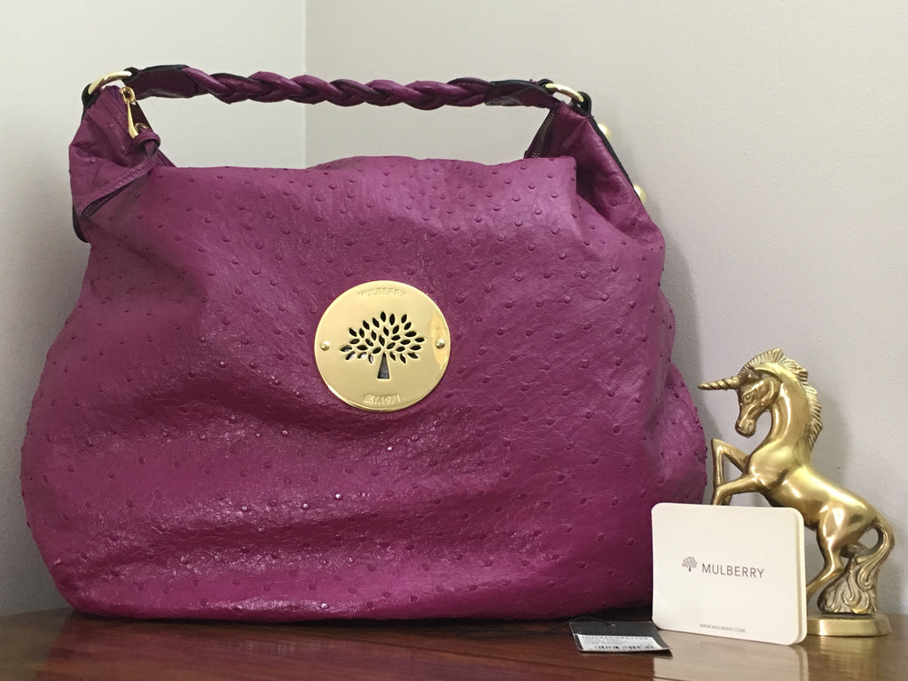 Mulberry Large Daria Hobo in Cerise Glossy Ostrich with Gold Hardware 2e8ba0761f