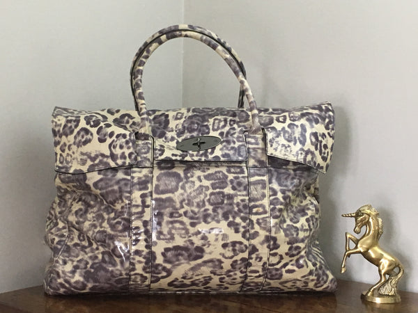 Mulberry Piccadilly in Putty Smudged Leopard Patent Leather with Gunmetal Hardware