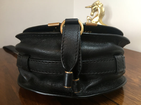 Chloe Black Mini Marcie Cross Body Satchel with Gold Chain Detailing