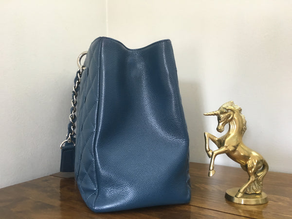 Chanel Blue Caviar GST XL GST (Grand Shopping Tote) with Silver Hardware