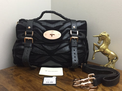 Sale Sold Out New Mulberry Regular Alexa in Black Suede and Lizard with  Rose Gold Hardware f6a8dbb27d834