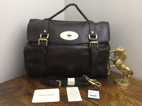 cdfb5474e08 Sold Out New Mulberry Oversized Alexa in Chocolate Soft Buffalo Leather  with Brass Hardware