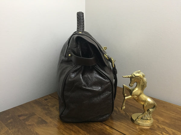 New Mulberry Oversized Alexa in Chocolate Soft Buffalo Leather with Brass Hardware