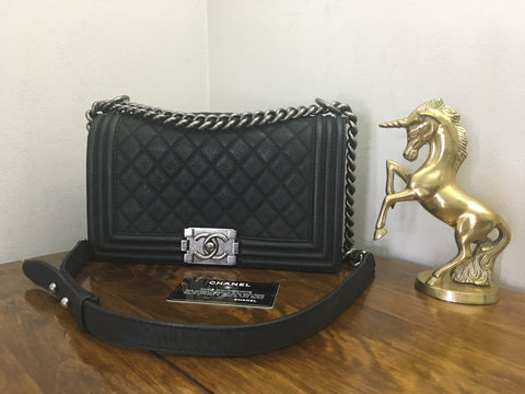 59ab5cb186ec Sold Out Chanel 18 Series Black Quilted Matte Caviar Old Medium Le Boy with Ruthenium  Hardware Full Set