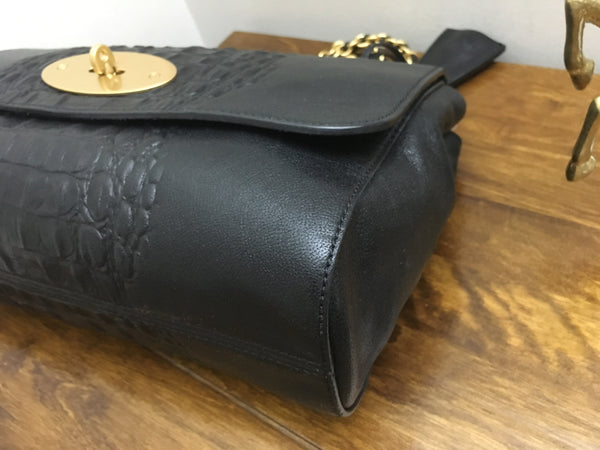 Mulberry Medium Lily In Black Croc Stripe Nappa Leather with Yellow Gold Hardware