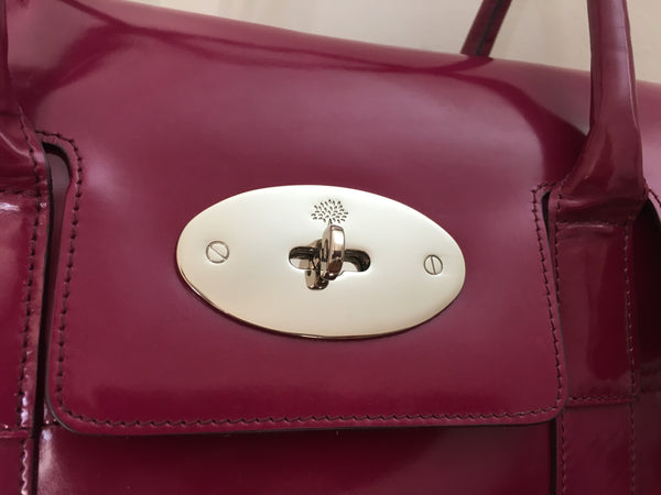 Mulberry Heritage Bayswater in Violet Patent Leather with Silver Hardware