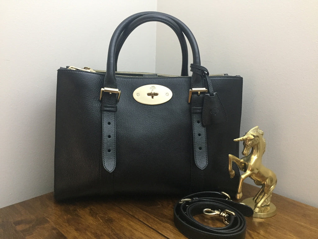 Mulberry Double Zip Tote in Black Shiny Goat Leather – Unicorn ... beb019efbf112
