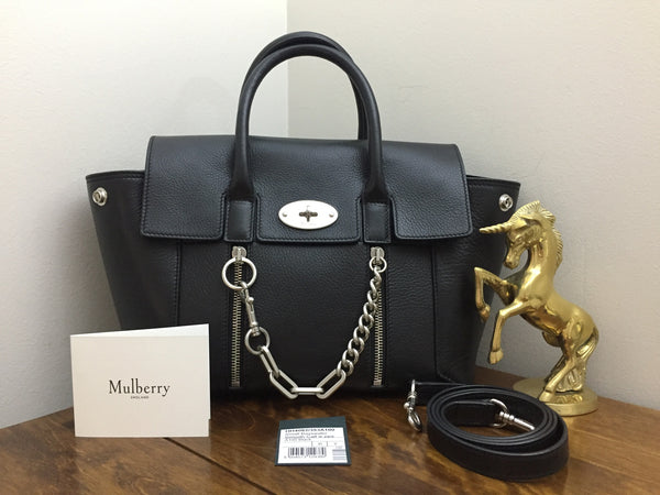 Mulberry Small New Bayswater in Black Smooth Calf with Zips & Chain