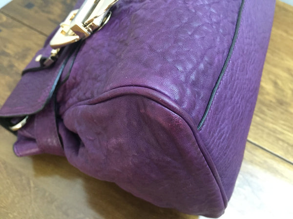 Mulberry Regular Alexa Buckle in Eggplant Two Tone Lambskin with Gold Hardware