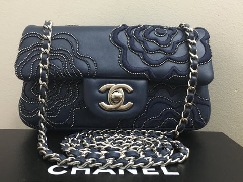 921c7b020cb Sold Out Authentic Chanel Blue Camellia Follies Extra Mini Flap Bag