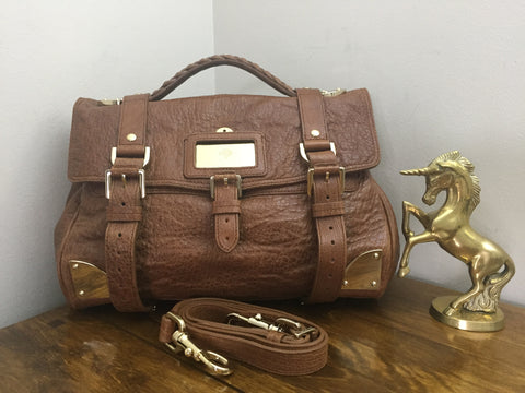 Sale Sold Out Mulberry Alexa Travel Day Bag in Oak Shiny Lambskin b76a9d85aad82
