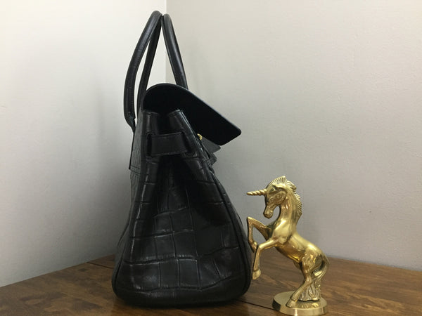 Mulberry Bayswater in Black Croc Printed Veg Tan Leather