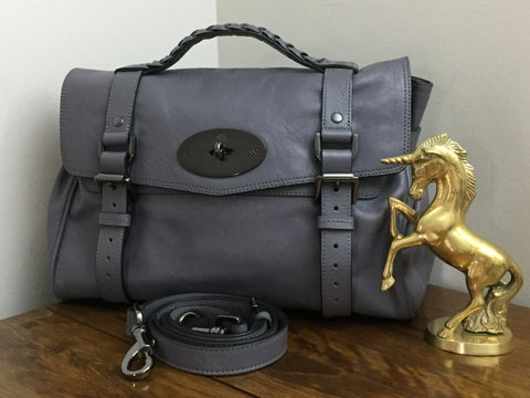 50ebe81153 Sold Out Mulberry Regular Alexa in Foggy Grey Glossy Buffalo Leather with Gunmetal  Hardware