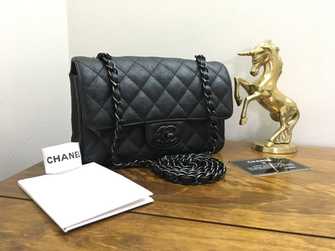 Authentic 2017 Chanel So Black Mini Rectangular Classic Flap Black Crumpled Calf with Black Hardware
