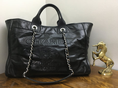 cf4992da25c3 Sold Out Authentic Chanel Large Deauville Tote in Black Glazed Leather with  Silver Hardware