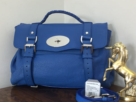 33d38e6926 Sold Out Mulberry Regular Alexa in Bluebell Blue Polished Buffalo Leather  with Silver Hardware