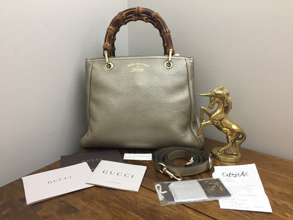 Gucci Champagne Metallic Leather Small Bamboo Shopper Bag