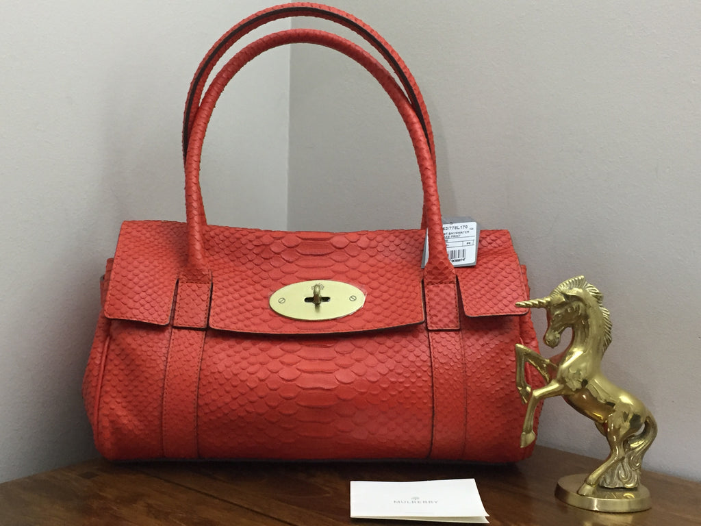 33cf2ca135c Sold Out Brand New Mulberry East West Bayswater in Flame Silky Snake Print  Leather