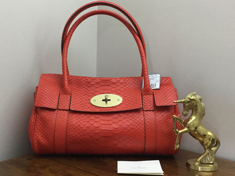 56e2b0313f9 Sold Out Brand New Mulberry East West Bayswater in Flame Silky Snake Print  Leather
