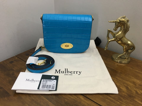 Mulberry Azure Shiny Croc Print Small Darley Satchel - As new