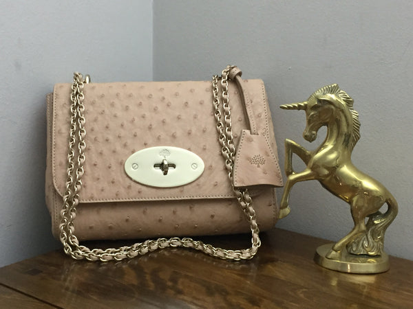 Mulberry Lily in Ballet Pink Ostrich Leather with Gold HW - As New - WITH FREE LOVE LOLO PILO