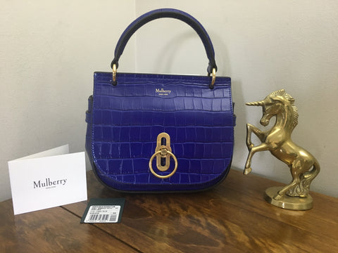 Brand New Mulberry Cobalt Blue Shiny Croc Small Amberley Satchel RRP £795