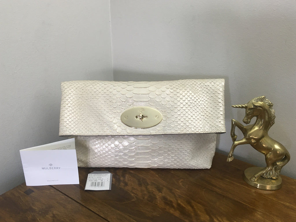 Mulberry Rose Gold Metallic Silky Snake Clemmie Clutch